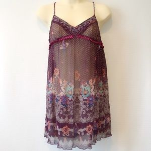 Intimately Free People silk beaded floral chemise